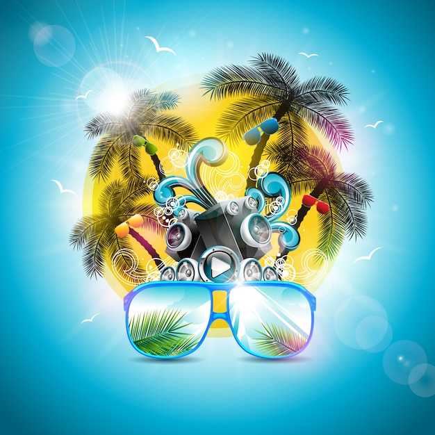 Summer holiday design with speaker and sunglasses Premium Vector