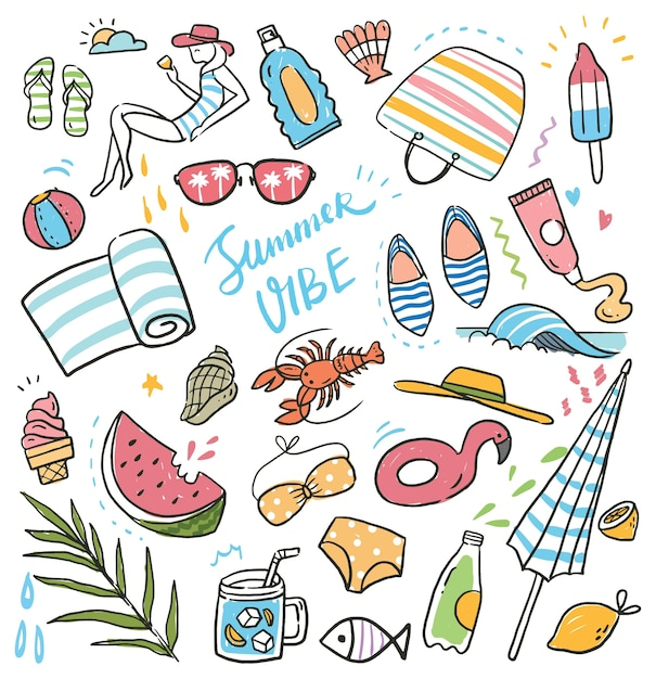 Summer holiday doodle set Premium Vector