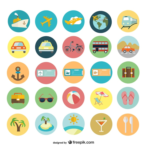 Summer holiday flat icons Free Vector