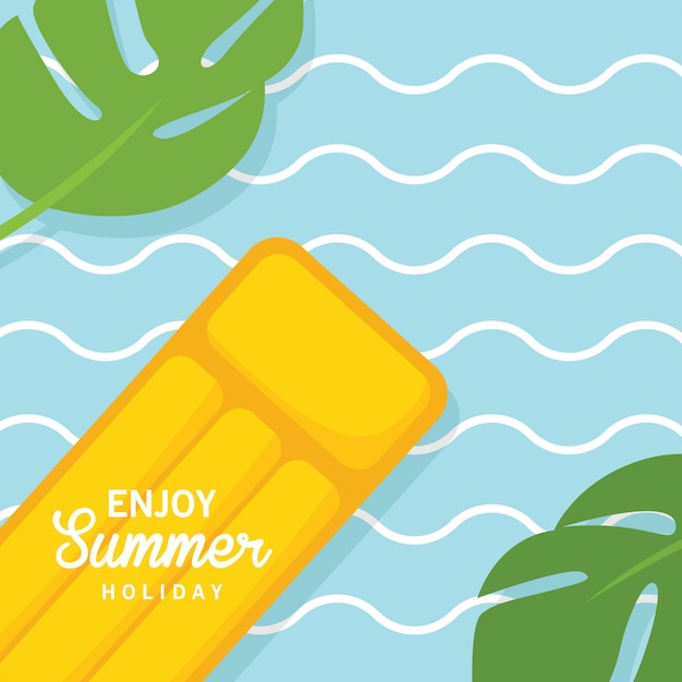 In summer holiday, floating yellow air pool water mattress Premium Vector