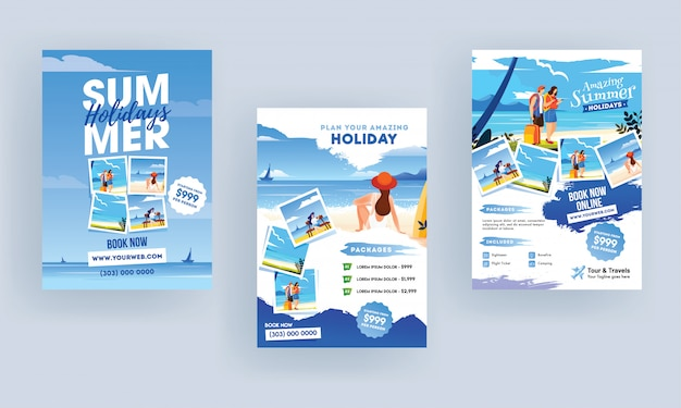 Summer holiday flyers. Premium Vector