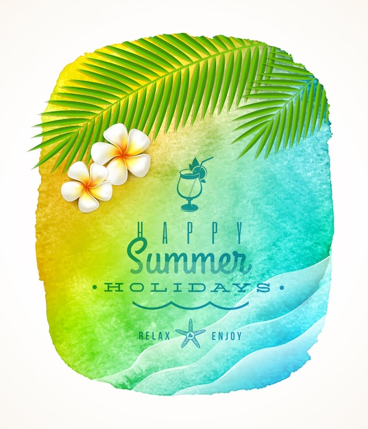Summer holiday greeting - watercolor background banner with sea waves, palm tree branches and frangipani flowers on shore Premium Vector