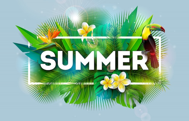 Summer holiday illustration with flower and toucan bird Premium Vector