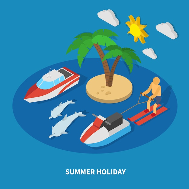 Summer holiday isometric composition Free Vector