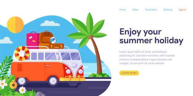 Summer holiday landing page web template Premium Vector