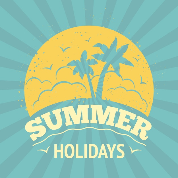 Summer holiday lettering design Free Vector