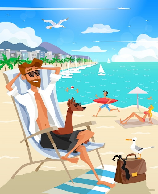 Summer holiday man on beach Free Vector