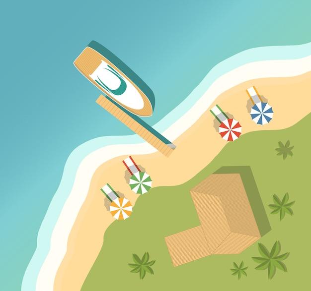 Летний отдых на тропическом островном курорте. песчаный пляж, бунгало и пальмы и шезлонги на берегу моря, а также полотенца и зонтики. мотор роскошных яхт вид сверху. Premium векторы