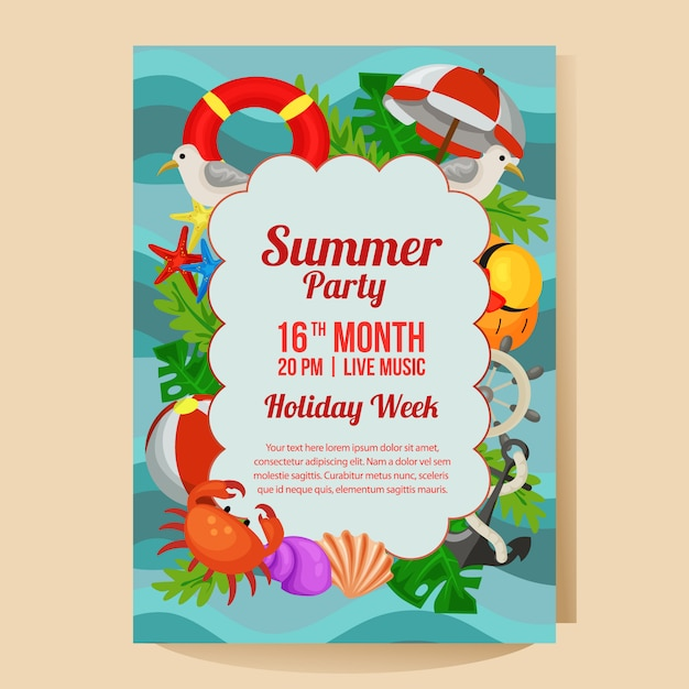 Summer holiday party poster with marine theme flat style vector illustration Premium Vector