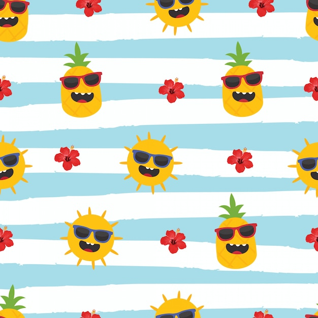 In summer holiday, pineapple, sun and hibiscus on striped background Premium Vector