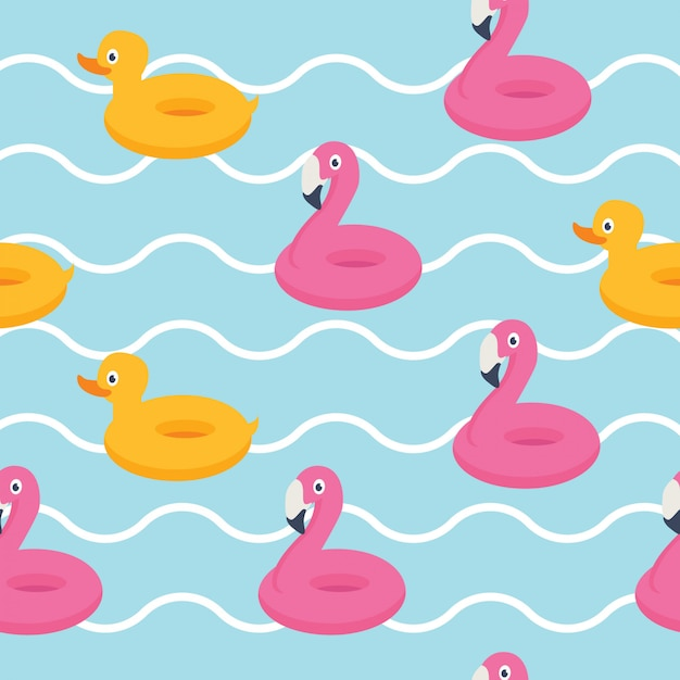 In summer holiday, pink flamingo and yellow duck Premium Vector