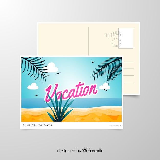 Summer holiday postcard template Free Vector
