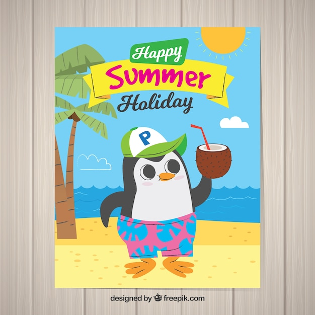 Summer holiday postcard with cute animal Free Vector