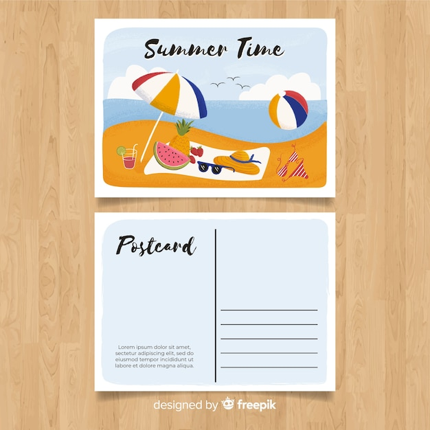 Summer holiday postcard Free Vector