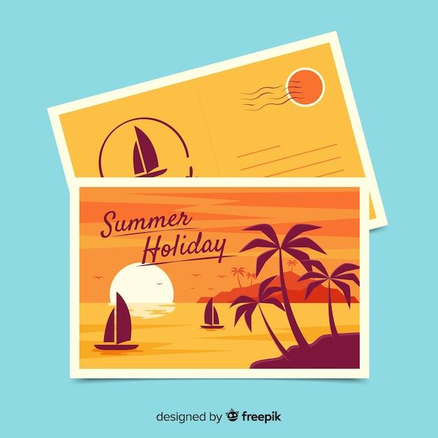 Summer holiday postcard Free Vector