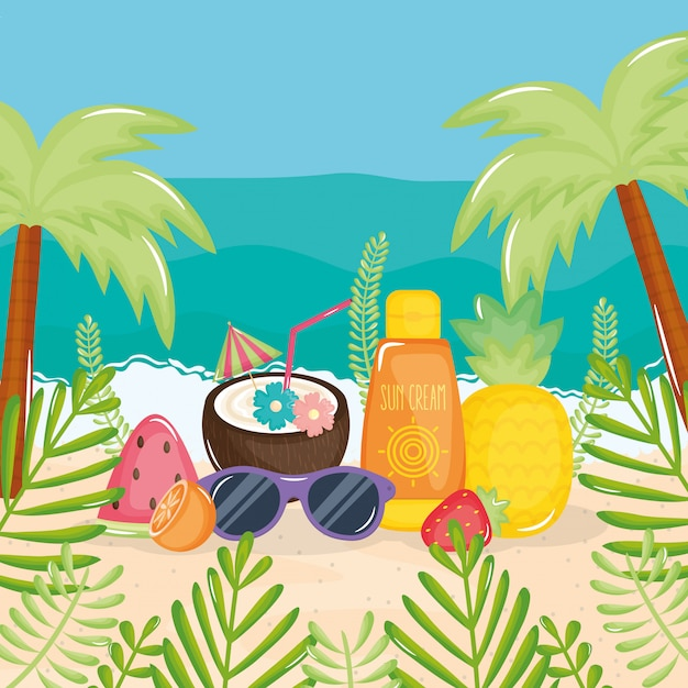 Summer holiday poster with beach scene and icons Premium Vector