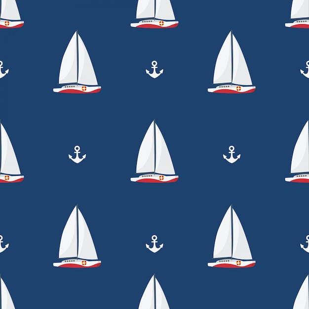 In summer holiday, sailing ships and anchors on white background Premium Vector