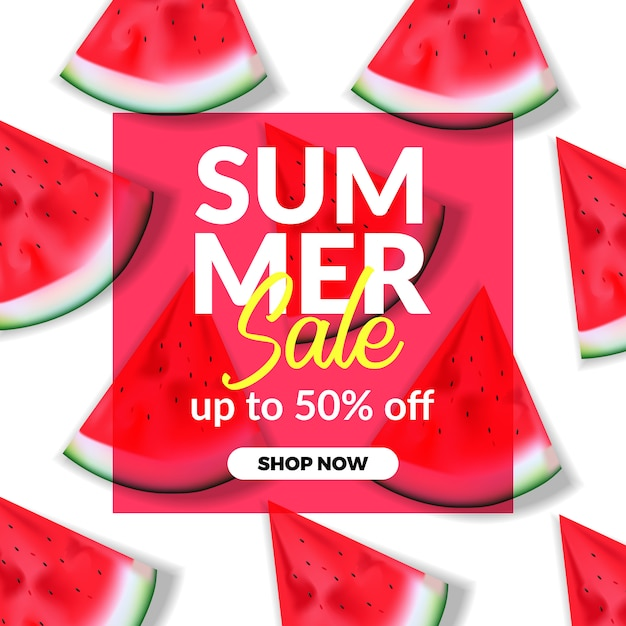 Summer holiday sale offer discount banner template with illustration of red watermelon Premium Vector