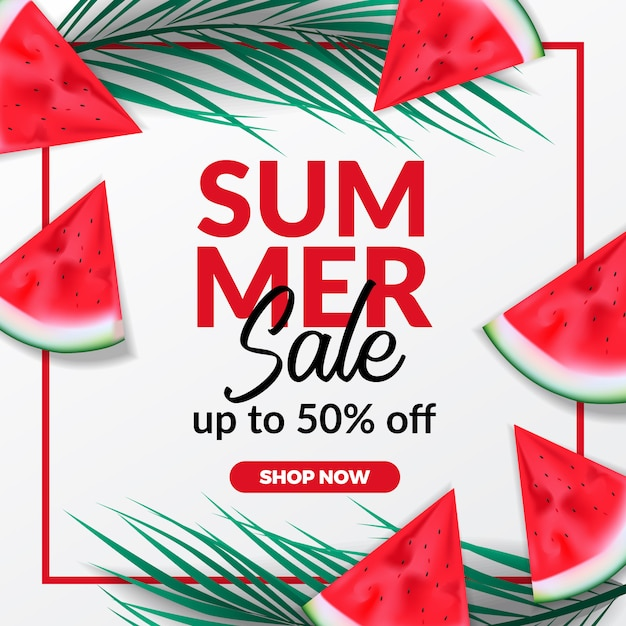 Summer holiday sale offer discount banner Premium Vector
