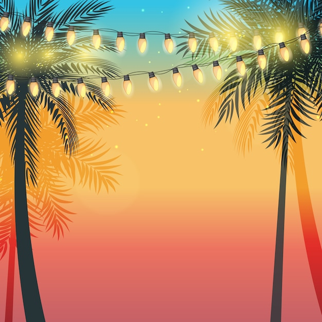Summer holiday  sunset with palm leaves and yellow garland lamp bulbs.  illustration Premium Vector