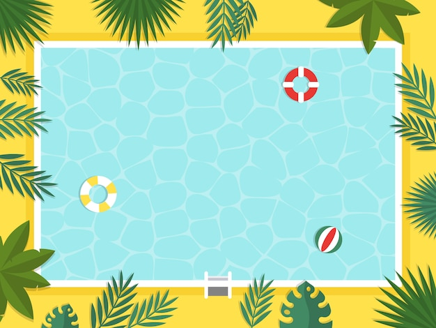 Summer holiday, top view swimming pool vector Premium Vector