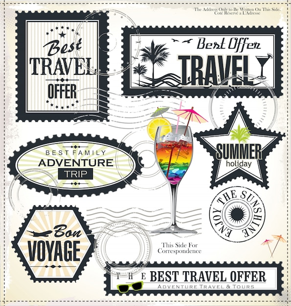 Summer holiday and travel time label Premium Vector