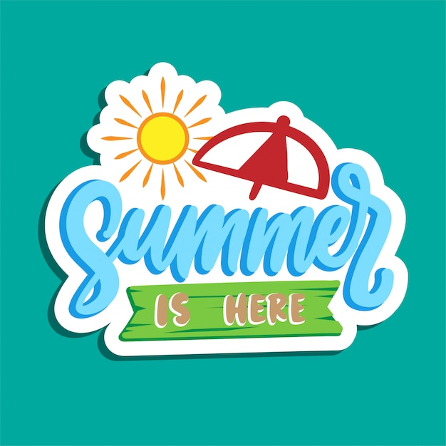 Summer holiday typography poster design Premium Vector
