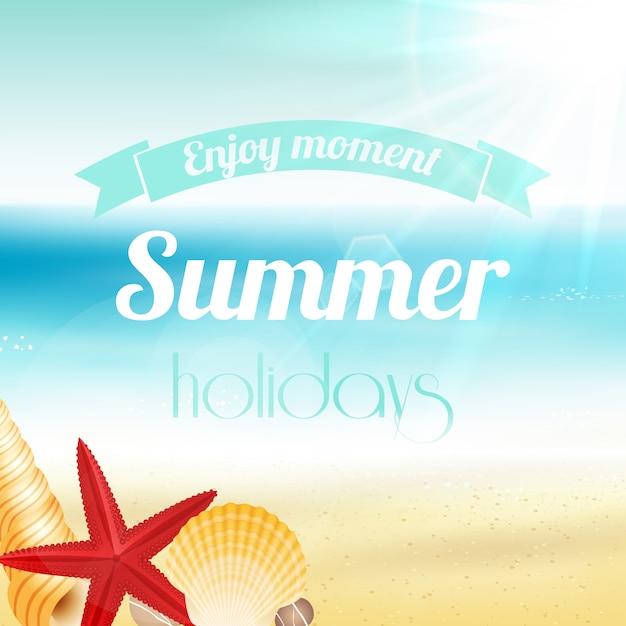 Summer holiday vacation poster Free Vector