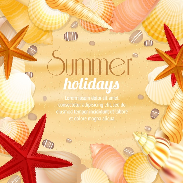 Summer holiday vacation travel background poster with beach sand seashells and starfish Free Vector