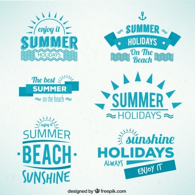 Summer holidays badges Free Vector