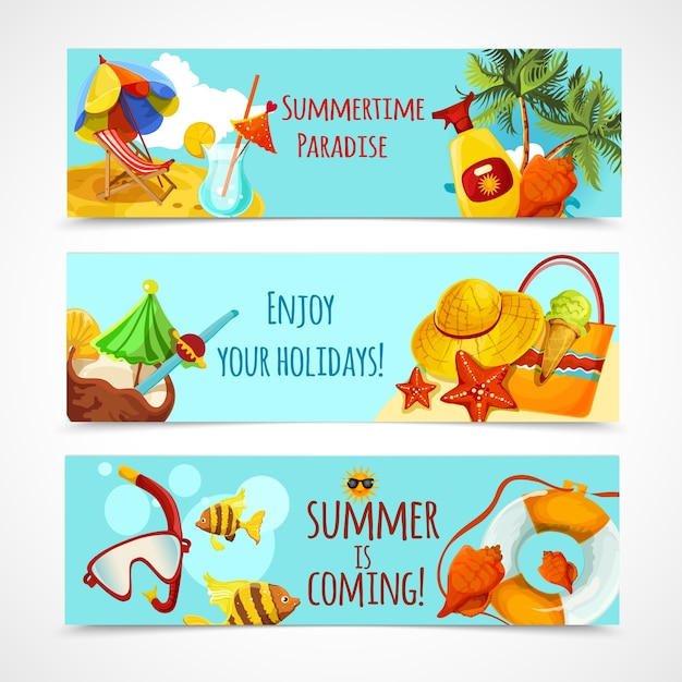 Summer holidays banners Free Vector
