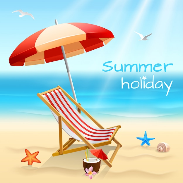 Summer holidays beach background poster with chair starfish and cocktail vector illustration Free Vector