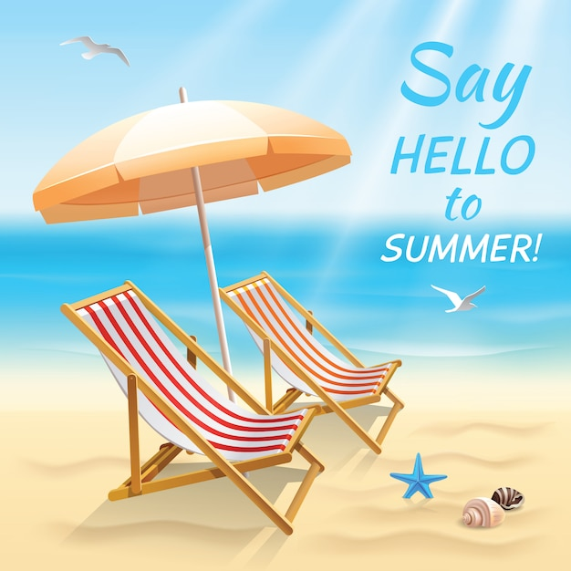 Summer holidays beach background say hello to summer wallpaper with sun chair and shade vector illustration. Free Vector