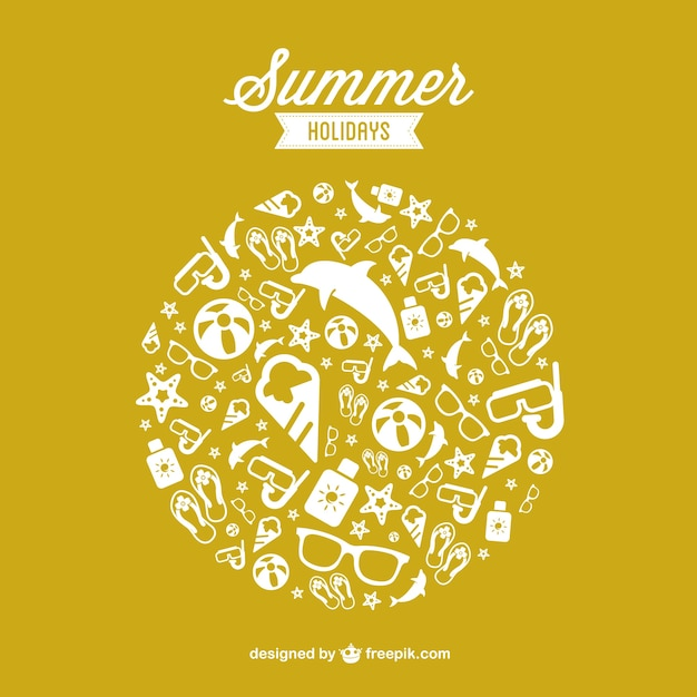 Summer holidays elements background Free Vector
