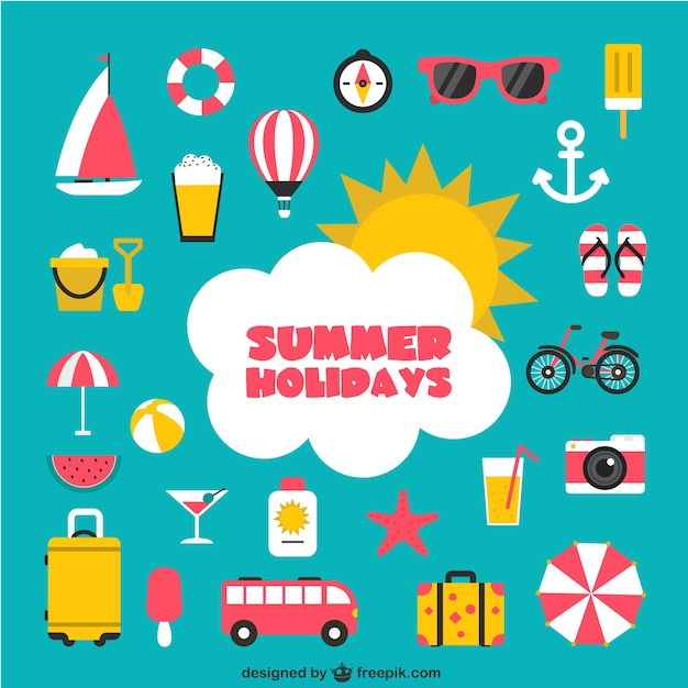 Summer holidays icons