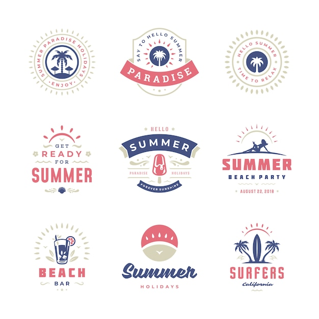 Summer holidays labels and badges retro typography  set. Premium Vector