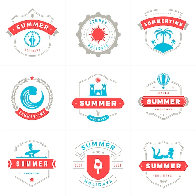 Summer holidays labels and badges typography vector design Premium Vector