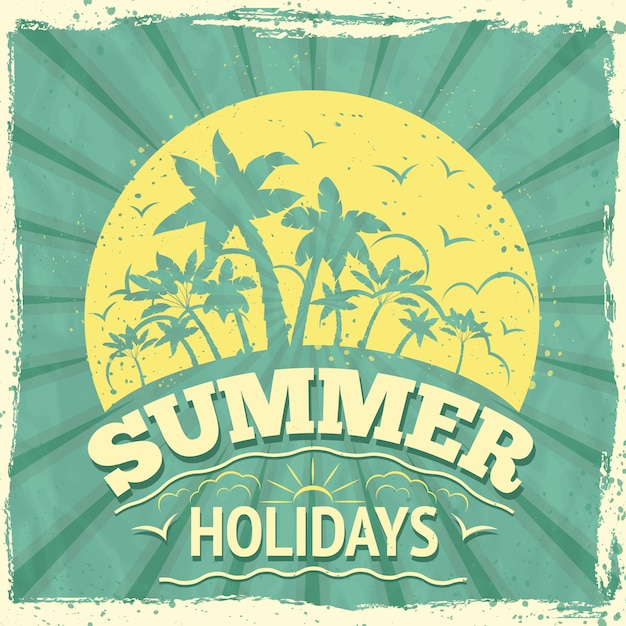 Summer holidays lettering design Free Vector