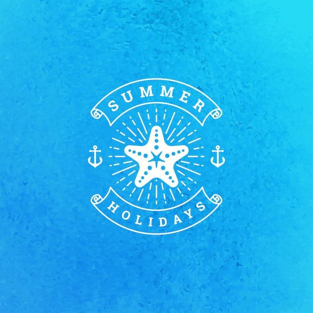 Летний отдых логотип или значок типография слоган дизайн Premium векторы