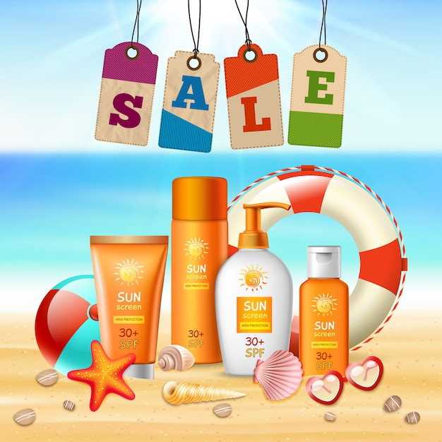 Summer holidays realistic flyer Free Vector