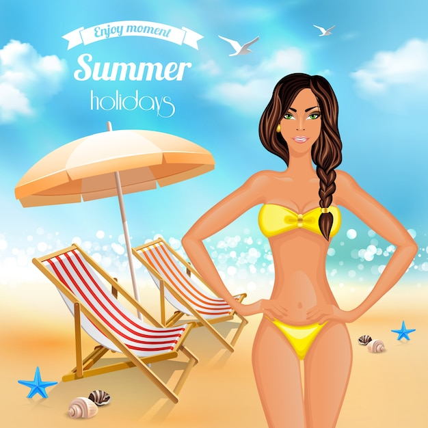 Summer holidays realistic poster Free Vector