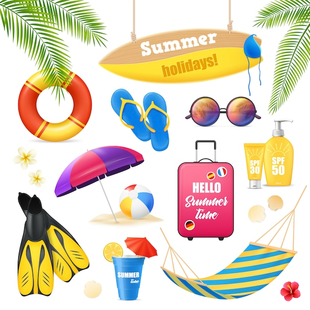Summer holidays tropical beach vacation accessories realistic images set Free Vector