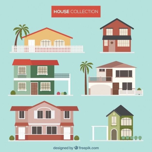 Summer Houses Collection Premium Vector