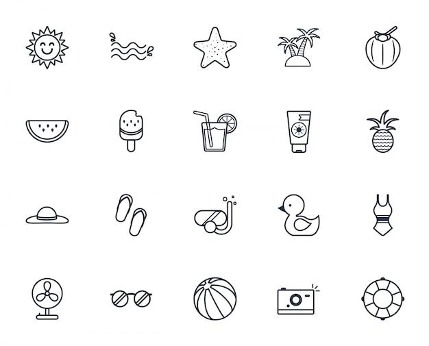 Summer icon set,summer holiday icon set. Premium Vector