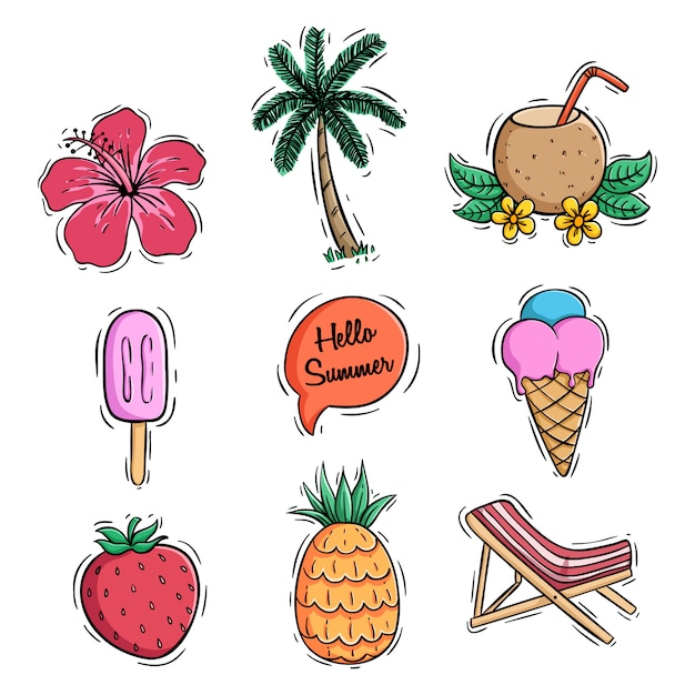 Summer icons collection with pineapple coconut drink and ice cream using colored doodle style Premium Vector