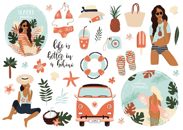 Summer icons collection. Premium Vector