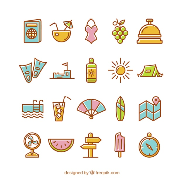 Summer icons in cute style Free Vector