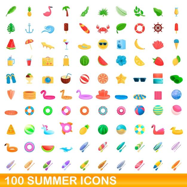Набор летних иконок. карикатура иллюстрации летних иконок на белом фоне Premium векторы