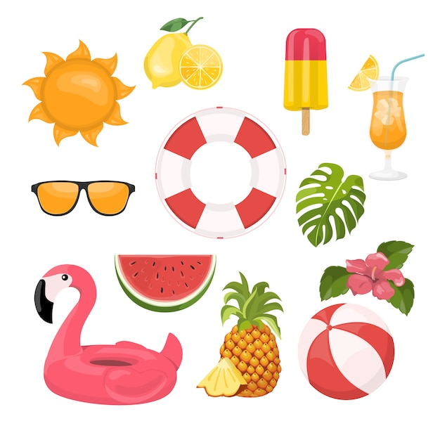 Summer icons set, ice cream, drinks, palm leaves, fruits and flamingo. Premium Vector