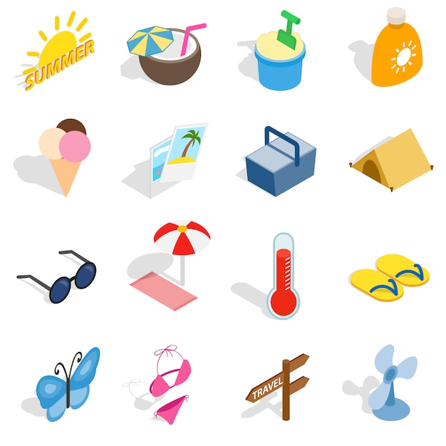 Summer icons set in isometric 3d style isolated vector illustration Premium Vector